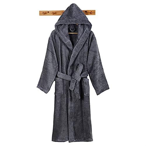Hombres Albornoz Long Men's Robe Cálido Albornoz Baño Toalla Suave Toalla Termal Vestido WAITAO (Color : Grey, Size : M(155-165cm))