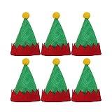 Amosfun - Mini Gorros Rojos de Papá Noel, diseño de Elfo de Navidad, Gorros de Leche, Adornos simpáticos, Gorros de Embalaje, Caramelos no Tejidos, Suministros navideños, 6 Unidades
