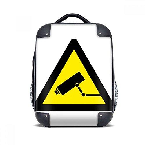 DIYthinker Waarschuwing Symbool Geel Zwart Monitor Camera Driehoek Hard Case Schouder Draagbare Kinderen Rugzak Gift 15