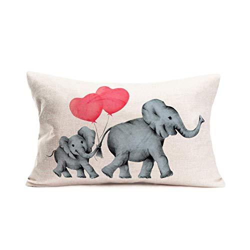 375 Fundas de almohada de lino y algodón, diseño de cola de elefante, con forma de corazón, color rojo