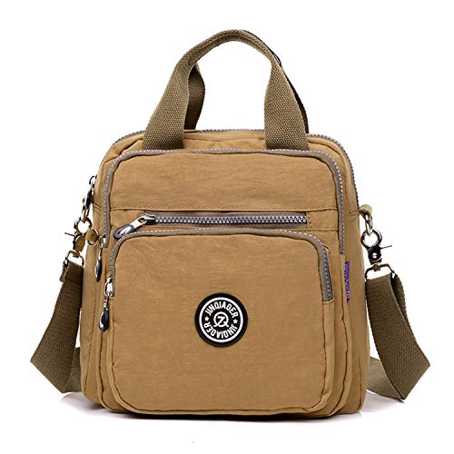 TFMus Girls Multifunction Water Resistant Nylon Top Handle Handbag Crossbody Satchel Purse Backpack (Khaki)