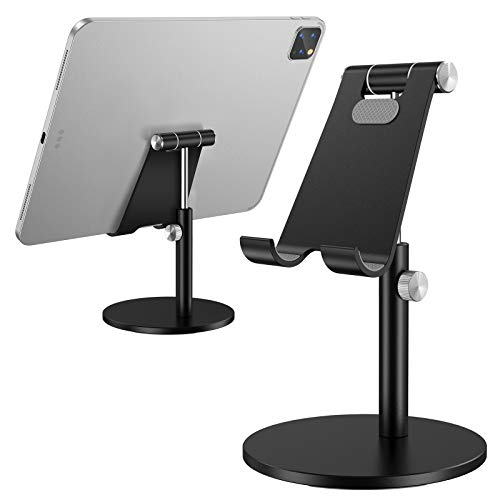 (Upgraded Newest) Tablet Stand, Height Adjustable Desktop Stand Holder, 360 Degree Rotating Aluminum Alloy Cradle Mount Dock for iPhone, Samsung, Smartphone & iPad, Tablet etc (4-13'' Screen)