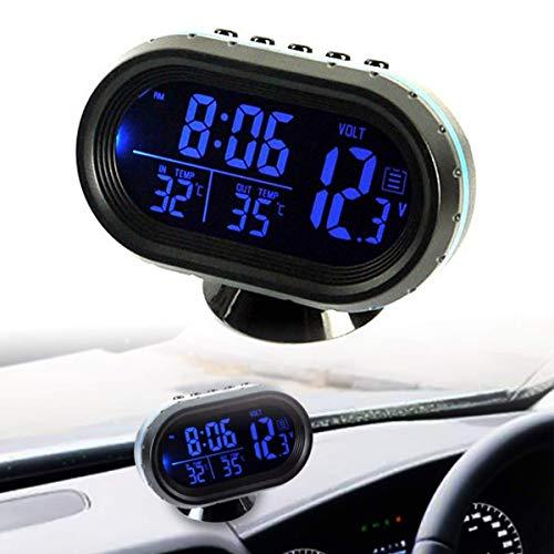Riloer Termometro per auto Orologio digitale 12-24V Voltmetro Sveglia LCD temperato con 2 retroilluminazione (blu rosso)