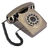 Teléfono Fijo, teléfono Fijo Retro Teléfono de Escritorio Multifuncional Chapado en Bronce para el hogar, la Oficina.(Bronce)