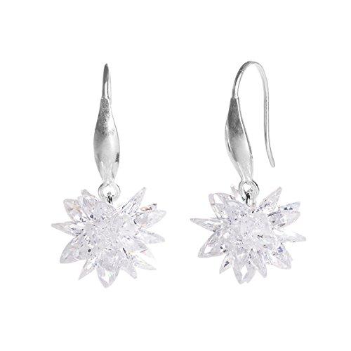 CHANGEABLE Loto de Nieve Cristal Pendientes de mujer de plata de ley