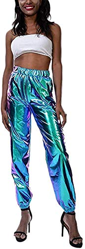 Carolilly Metallic Hose Damen High Waist Hose Streetwear Damen Haremshose Hip Hop Reflektierende Hose Clubwear (Blau, S)