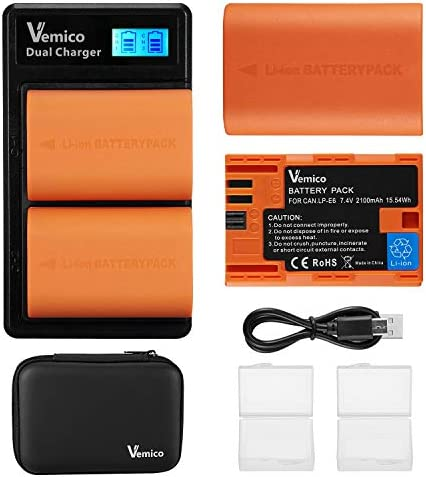 Vemico LP E6 LP E6N Battery Charger Set 2 x 2100mAh Replacement Batteries Dual Slots LCD Type product image
