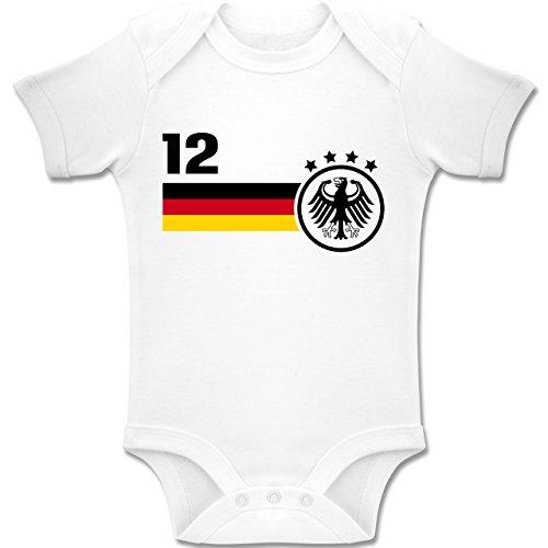 Shirtracer Fußball-Europameisterschaft 2020 - Baby - 12. Mann Deutschland Mannschaft WM - 3/6 Monate - Weiß - Baby Body wm 2018 Deutschland - BZ10 - Baby Body Kurzarm für Jungen und Mädchen