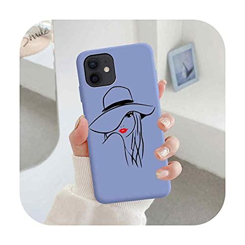 Linda Girl Art Line - Funda de silicona para iPhone 5 5S X XR XS MAX 7 8 6S 6 Plus 11 12 Pro Max Mini cubierta trasera suave -012-para iPhone 7 8
