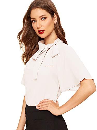 SheIn Blusa de manga corta para mujer, informal, con cuello con lazo, para mujer, Blanco, L