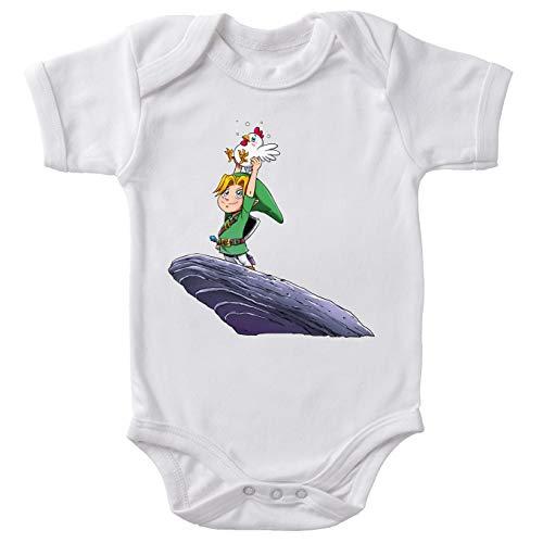 Okiwoki Body bébé Manches Courtes Blanc Parodie Zelda - Link et Une cocotte - C'est l'histoire. l'histoire des Cocottes !(Body bébé de qualité supérieure de Taille 3 Mois - imprimé en France)