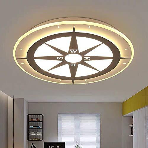 Kompas-plafondlamp, rond LED-ooglicht, karikatuur-kinder-slaapkamer-licht, jongens en meisjes-licht wit licht, warm licht (52 x 62 cm), wit licht, 62 cm