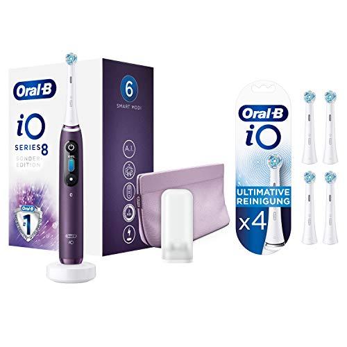 Oral-B iO 8 Special Edition Elektrische Zahnbürste, Toothbrush, mit revolutionärer Magnet-Technologie, 6 Putzprogrammen, OLED-Farbdisplay, Beauty-Tasche, violet ametrine & 4 extra Aufsteckbürsten