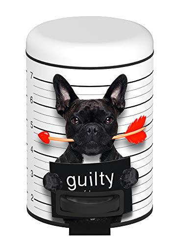 WENKO Kosmetik Treteimer Guilty Dog Abfalleimer Papierkorb Mülleimer Bad Eimer
