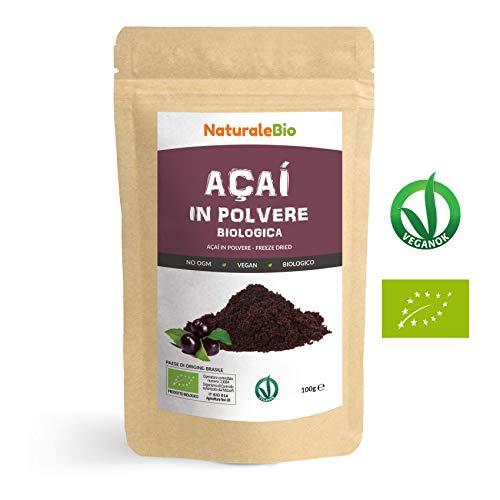Bacche di Açai Biologiche in Polvere [ Freeze - Dried ] 100 gr. 100% Prodotto in Brasile, Liofilizzato, Crudo ed Estratto dalla Polpa della Bacca di Acai. NaturaleBio