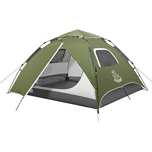 DEERFAMY 2020 Upgrade 3-4 Person Camping Automatic Tent, Green