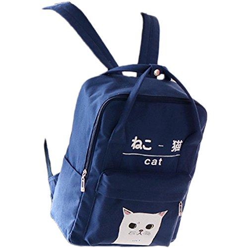 Himifashion Rucksack in japanischem und koreanischem Stil, mit Kawaii-Katze, für Damen und Mädchen, navy