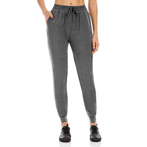 KAXI Pantalones Joggers para Mujer con Bolsillos Algodón Casual Cordón Yoga Sweypants Tobillo Pantalón Caminando Pantalones,Dark Gray,S