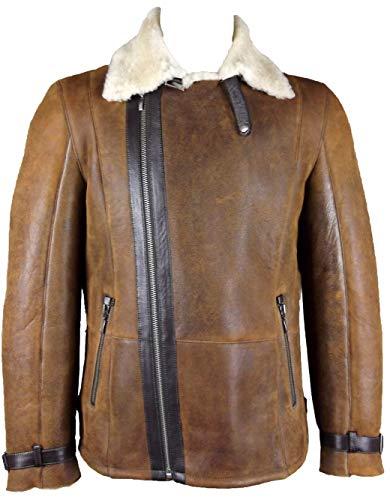 Unicorn Uomo Cappotto di Montone con Cerniera Diagonale - Marrone Antico con Crema Pelliccia - Giacca in Vera Pelle #GU - Taglia 34 (XS)
