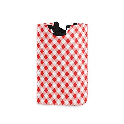 N\A Wäschekorb Faltbarer Eimer kollabiert Wäschekorb Waschbehälter Rot Weiß Gitter für Heimorganisator Kinderzimmer Aufbewahrung Babykorb Kinderzimmer