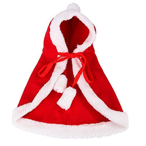 Skyoo huisdier kerst kostuum Poncho Cape met hoed kerstman mantel voor katten en honden rood