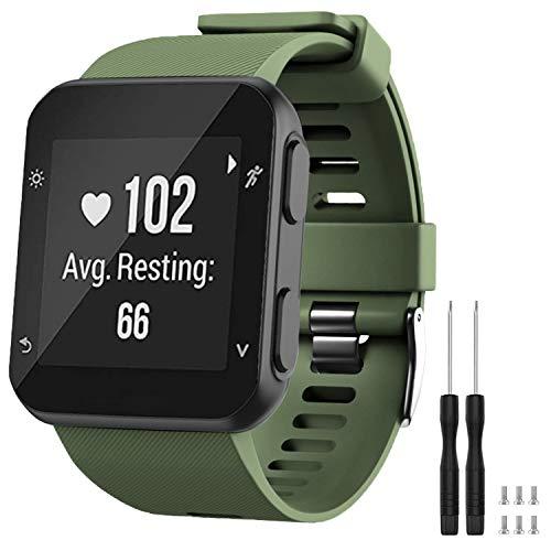 GVFM - Correa de repuesto compatible con Garmin Forerunner 35, de silicona suave para reloj inteligente, ajuste de muñeca de 130 a 230mm, Verde militar (hebilla negra).
