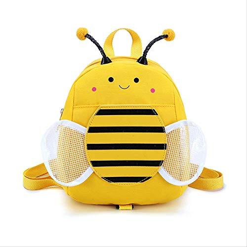 Children's Canvas Tas Dubbele Schouder Tas Leuke Bee Casual Rugzak Natte Meisje Tas Kind Tas (Geel)