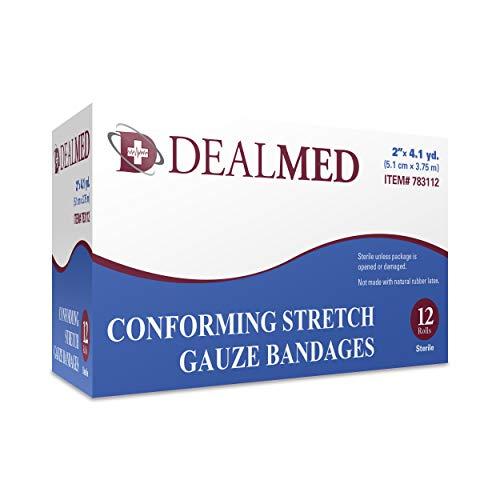 Dealmed 2 Sterile Conforming Stretch Gauze Bandages, 4.1 Yards Stretched, 12 Rolls