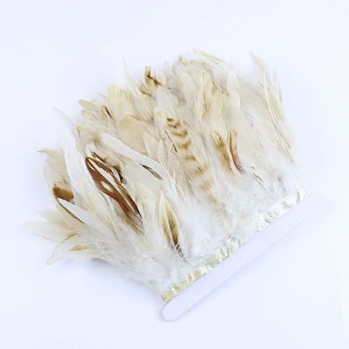 LINWX 1 mètre Plumes de Coq Garniture Frange 10-15 CM Plume de Poulet décoration Ruban Artisanat vêtements Robes Accessoire de CoutureJuju Chapeau