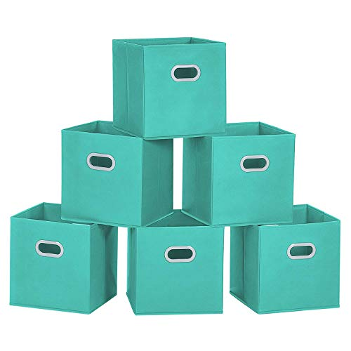 MaidMAX Storage Bins 12x12x12 for Home Organization and Storage Toy Storage Cube Closet Organizers and Storage with Dual Plastic Handles Cyan Set of 6