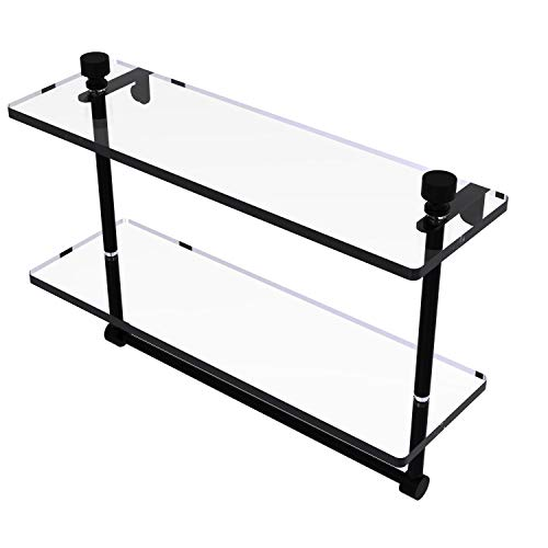 Allied Brass FT-2/16TB Foxtrot Collection 16 Inch Two Tiered Integrated Towel Bar Glass Shelf, Matte Black