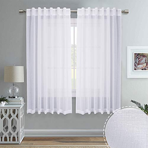 RYB HOME Linen-Like White Sheer Curtains for Living Room, Rod Pocket & Back Tab Headers Hang with Rods Hooks, Home Office Bedroom Draperies Window Decor, 55 x 63-inches Long, 1 Pair