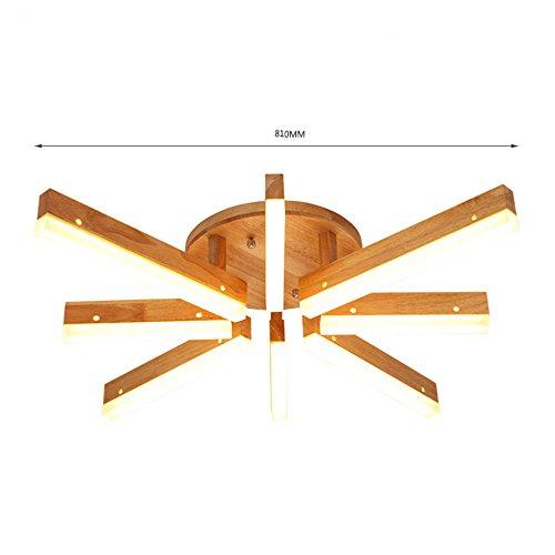 ZWL Lampes de plafond LED, bois solide créatif Forme géométrique irrégulière Restaurant Lampes de plafond Lumières de la chambre Salon Décoration de salon Plafonnier avec source lumineuse ZWL ( taille : E )