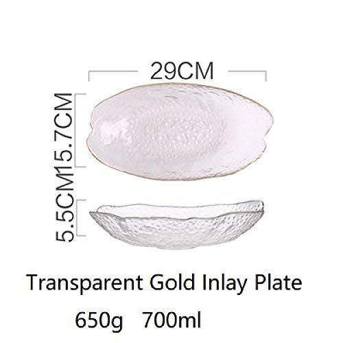 CSJ-CSJ Side Plates Dinner Plates Salad Bowls Dishware & Serving Pieces European Style Glass Gold Inlay Fruit Powl Living Room Home Modern Salad Oval Dinner Plate Tableware plates