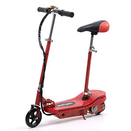 """Rot Faltbarer Elektroroller mit Sitz für Erwachsene Kinder Mädchen Elektro Scooter mit LED Licht 150W Motor Max 12 V 4.5Ah max. Belastung 75kg 6""""Reifen Fahrt bis zu 6-12 km (Rot)"""