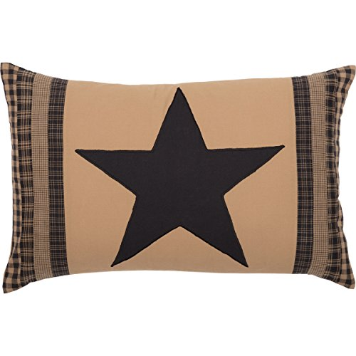 VHC Brands Check Star Patch Country Rustic Primitive Bedding Accessory, Pillow 14x22, Black and Tan