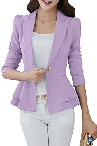 YMING Women's Basic Blazer One Button Blazer Long Sleeve Casual Blazer Purple S