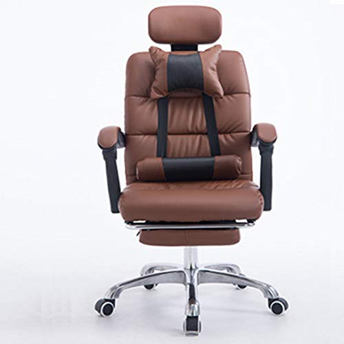 TXYJ Reclining lederen bureaustoel met voetsteun - High Back Executive verstelbare rolstoel met intrekbare voetsteun