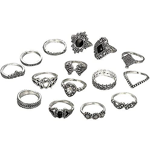 chaosong shop 15 unids/set bohemio vintage sobre nudillos anillos para mujeres negro gema apilable conjunto