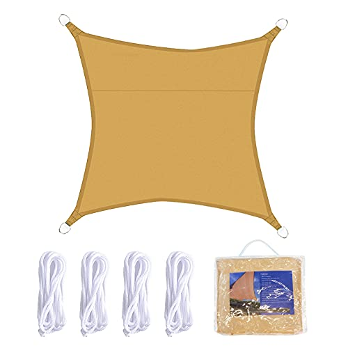 JNCH Vela Ombreggiante Rettangolare 2x2m Tenda a Vela Parasole da Esterno Protezione Solare Anti Raggi UV Vela Omreggiante Impermeabile Respirante per Giardino Esterno Beige Scuro