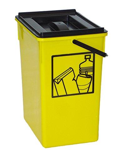 Cubo basura Reciclar amarillo 20X28X34 C/Asa y tapa