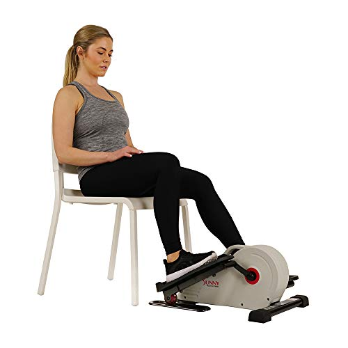 Sunny Health & Fitness Fully Assembled Magnetic Under Desk Elliptical Peddler – SF-E3872, Grey