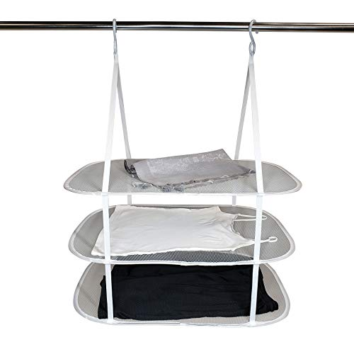HOMZ Sweater/Delicates/Swimsuit Dryer Surface Grey Set of 1 Hanging 3 Tier Drying Rack