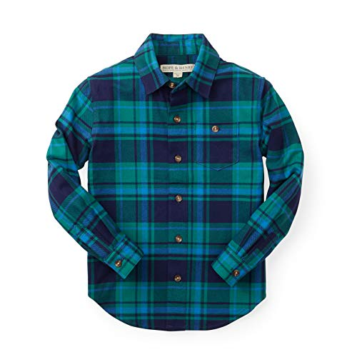 Hope & Henry Boys Dark Brushed Cotton Button Down Top Made with Organic,Green and Navy Plaid,Medium - (7-8)