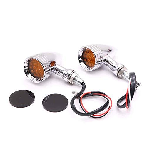 Señal de Giro de Motocicleta Motocicleta 1 par de 10 mm Negro Chrome Flashing LED Freno Blinker Señal de Giro de la luz para la lámpara de luz indicadora (Color : Silver)