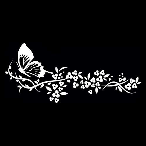 Dandeliondeme Fliegende Schmetterling Blume Schöne Auto Tür Fenster Aufkleber Dekor für Notebook Skateboard Snowboard Gepäck Gepäck MacBook Auto Fahrrad Stoßstange Weiß