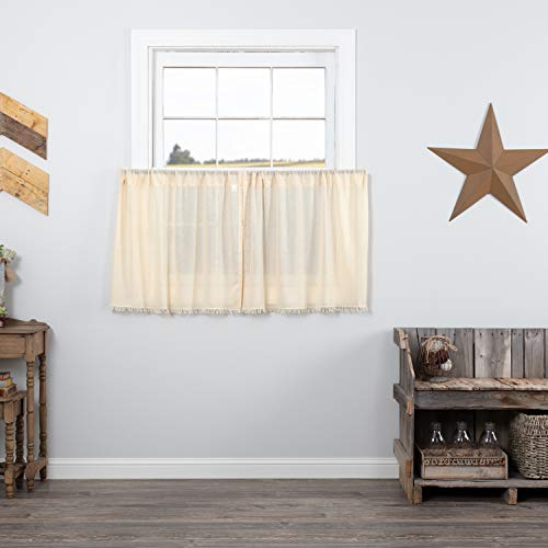 VHC Brands Tobacco Cloth Natural Curtain, Tier Set 24x36
