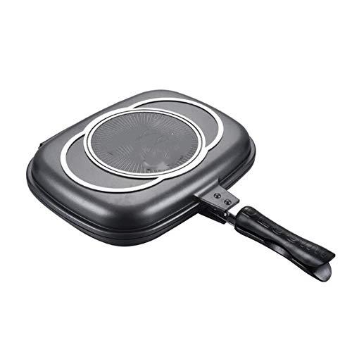 Double-Sided Pan, Frying Pan Fried Steak Pan Fried Pancake Pan Grill Pan Best New Korean Smokeless Non-Stick Frying Pan,Black,40cm