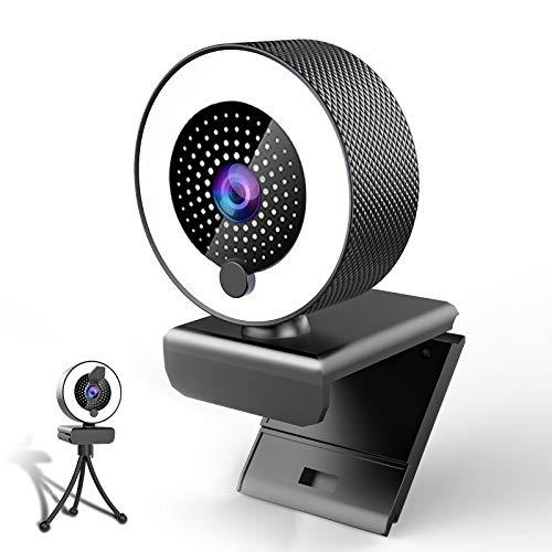 MHDYT Webcam per PC con Microfono, 2K HD Web Cam con Luce ad Anello Regolabile e Privacy Cover,USB Web Camera per PC Fisso,Laptop e Mac,Videocamera PC con Autofocus per Videoconferenze,Registrazione