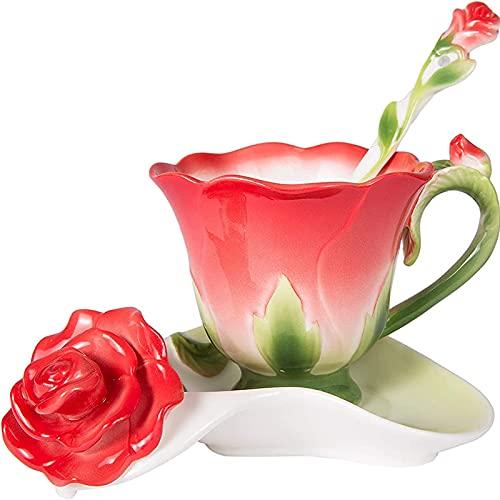 Taza de té y platillo Set 6oz Vintage Porcelana Linda Flor Taza de Café con Cuchara Rosa Forma Diseño Rojo